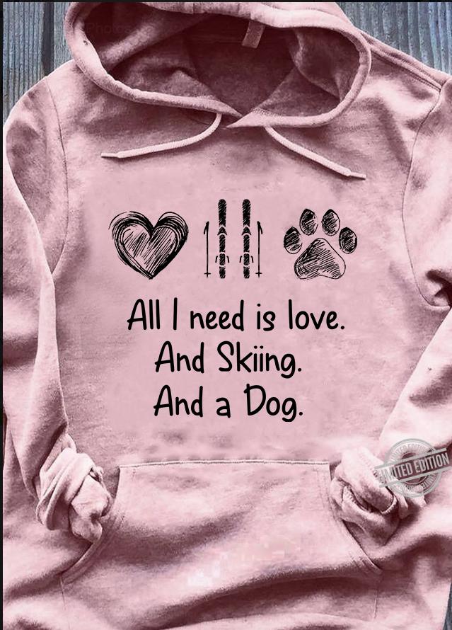 I Love Heart Skiing V-Neck T-Shirt