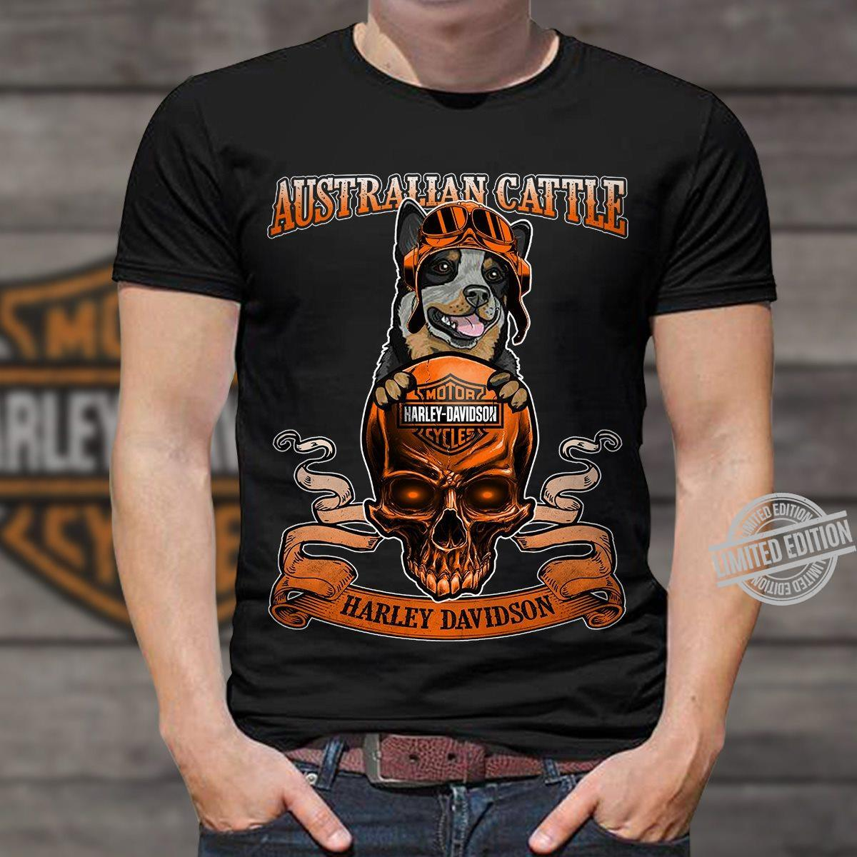 Harley Davidson Motorcycles And Australian Cattle Shirt