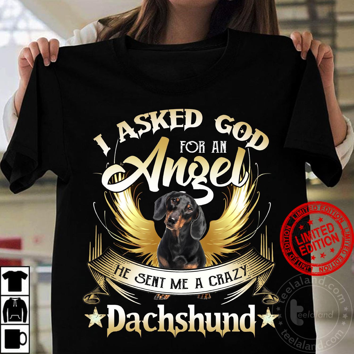 I Asked God For An Angel He Sent Me A Crazy Dachshund Shirt