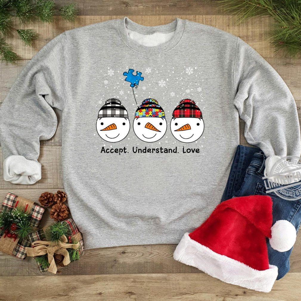 Snowmans Accept Understand Love Autism Shirt