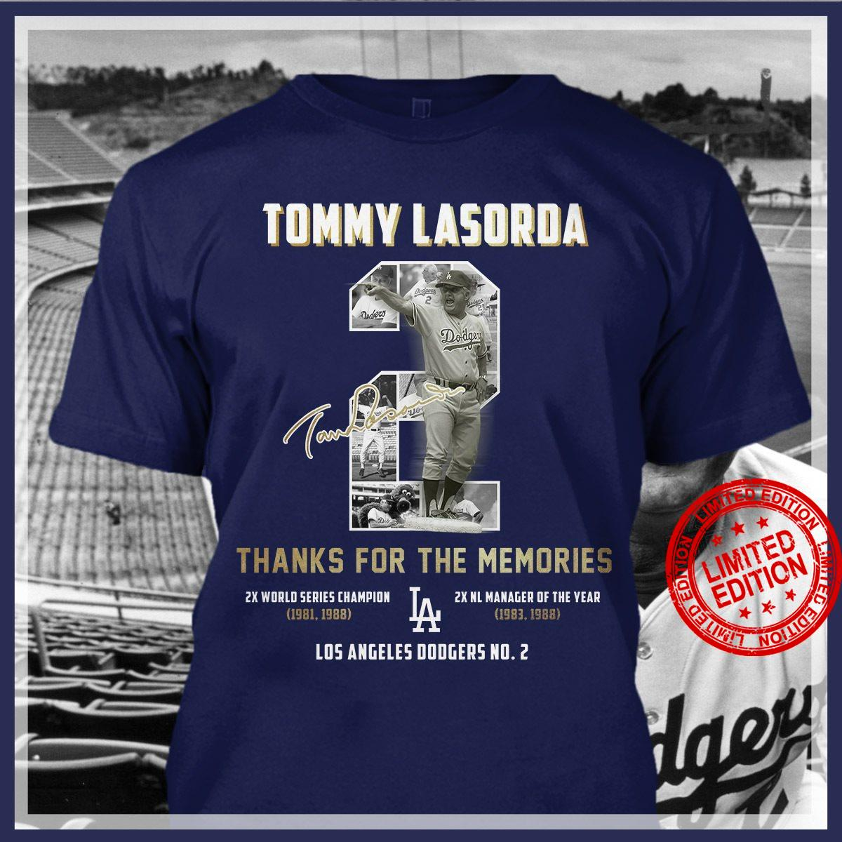 Tommy Lasorda Thanks For The Memories Los Angeles Dodgers Shirt